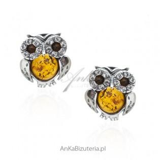 Kolczyki srebrne z bursztynem i kryształkami Swarovski - Sówki