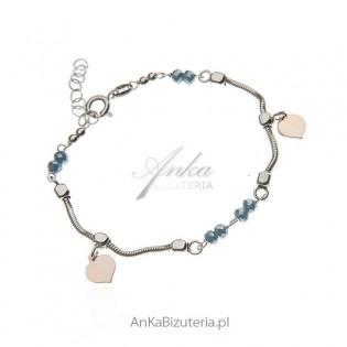 Bransoletka srebrna z niebieskim jadeitem - pozłacana różowym złotem
