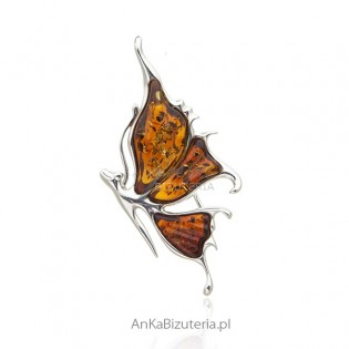 Śliczna broszka srebrna z bursztynem
