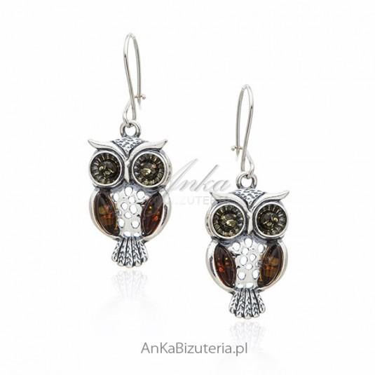 Sowy biżuteria - Kolczyki srebrne z bursztynem