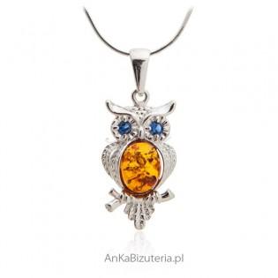 Wisiorek sowa z bursztynem - Biżuteria srebrna