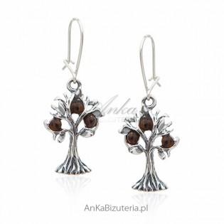 Kolczyki srebrne z bursztynem - drzewka szczęścia