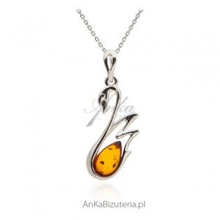 Łabędź - Zawieszka srebrna z bursztynem