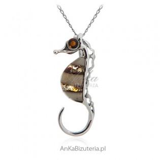 Konik morski biżuteria srebrna z bursztynem