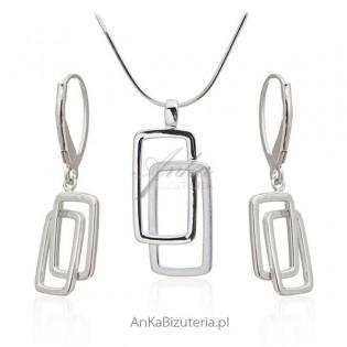 Komplet biżuteria srebrna rodowana