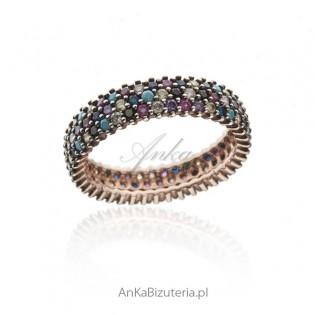 Pierścionek srebrny pozłacany z turkusem i kolorowymi cyrkoniami - 18