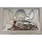 Obrazek srebrny Aniołek nad dzieckiem 17,5 cm* 11,5 cm na białym drewnie