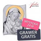 Obrazek srebrny Madonna z dzieciątkiem 12 * 17 cm