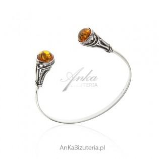 Bransoletka srebrna z bursztynem - Piękna biżuteria z bursztynem