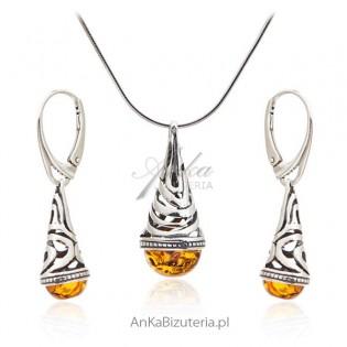 Komplet biżuteria srebrna z bursztynem