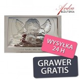 Obrazek srebrny Aniołek nad dzieckiem 13,5 cm* 9 cm na białym drewnie