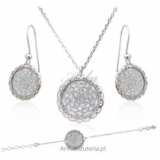 Komplet biżuteria srebrna