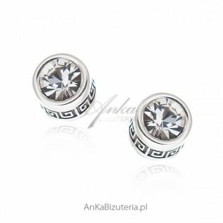 Kolczyki srebrne z cyrkonią i greckim wzorem