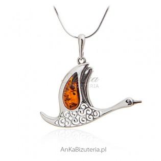 Biżuteria z bursztynem srebro - Żuraw