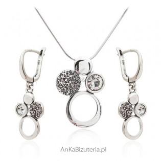 Komplet biżuteria srebrna z cyrkonią