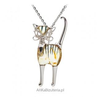 Srebrna biżuteria z bursztynem - Duży Elegancik kotek