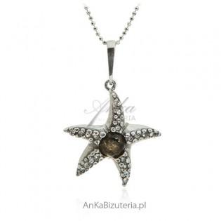Zawieszka srebrna rozgwiazda z bursztynem i cyrkoniami