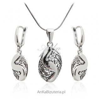 Komplet biżuteria srebrna i oksydowana