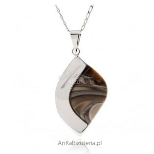 Zawieszka srebrna z krzemieniem pasiastym - średnia