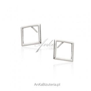 Kolczyki srebrne rodowane Ażurowe kwadraty