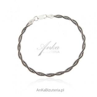 Bransoletka srebrna oksydowana - warkocz