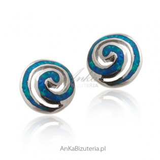 Kolczyki srebrne z niebieskim opalem - na wkrętki