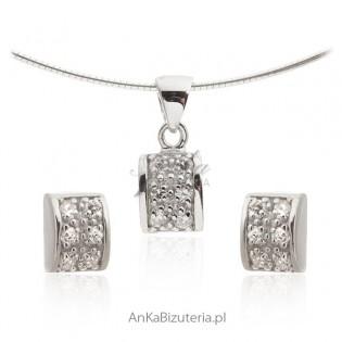 Komplet biżuteria srebrna z cyrkoniami Sklep internetowy
