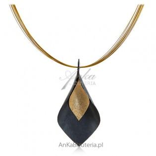 Biżuteria artystyczna ręcznie robiona - srebro pozłacane i oksydowane -Naszyjnik