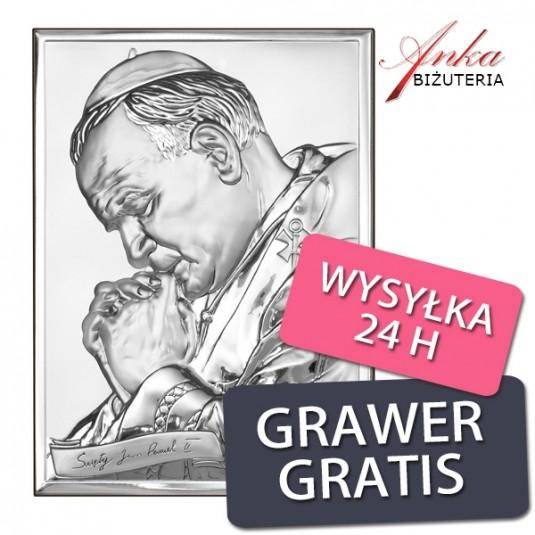 Piękny obrazek Papież Jan Paweł II Pamiątka srebrna 13 cm/18 cm