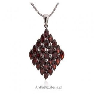 Biżuteria srebrna - Piękna zawieszka srebrna z pięknymi kamieniami