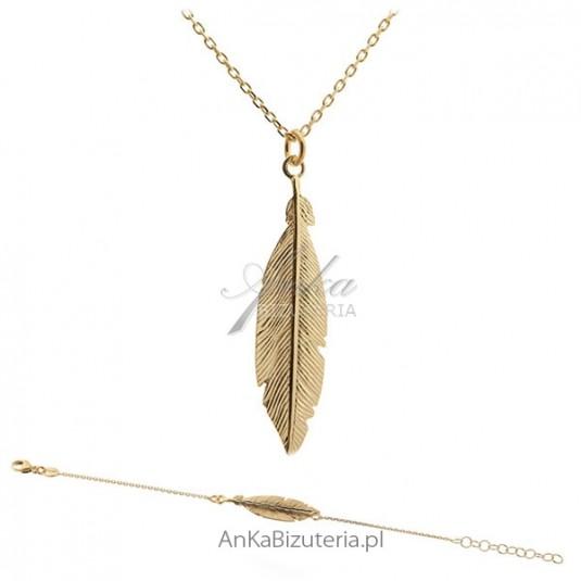 Biżuteria srebrna komplet pozłacany piórka