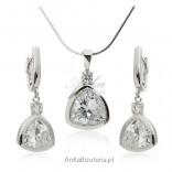 Komplet srebrnej biżuterii - Piękna biżuteria ślubna