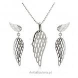 Modny komplet - biżuteria srebrna - Skrzydła Anioła