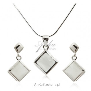 Komplet biżuteria srebrna z szarym uleksytem