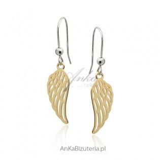 Kolczyki srebrne pozłacane Skrzydła Anioła