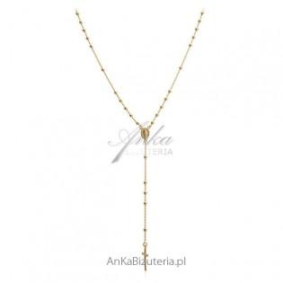 Modna biżuteria srebrna pozłacana Różaniec