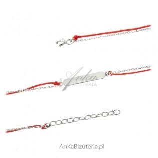 Bransoletka srebrna pozłacana na czerwonym sznureczku