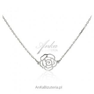 Naszyjnik srebrny rodowany - różyczka