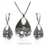 Srebrny oksydowany komplet biżuterii - Biżuteria artystyczna