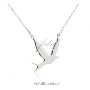 Naszyjnik srebrny gołąbek pokoju Biżuteria na prezent