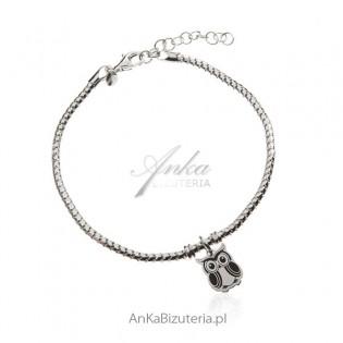 Srebrna bransoletka włoska z przywieszką -Sowa