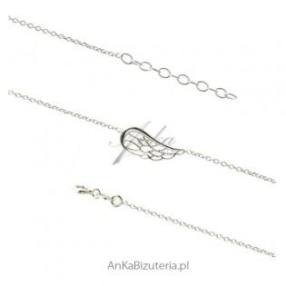 Bransoletka srebrna skrzydełko ażurowe - Modna biżuteria