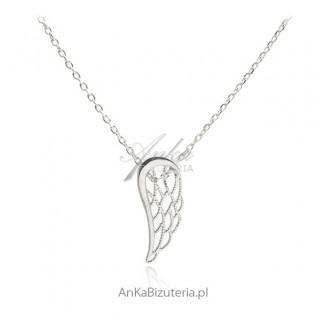 Naszyjnik srebrny skrzydełko - srebro rodowane