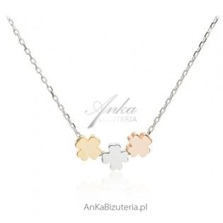 Naszyjnik srebrny z koniczynkami -Jubiler AnKa