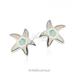 Kolczyki srebrne białe rozgwiazdy z opalem