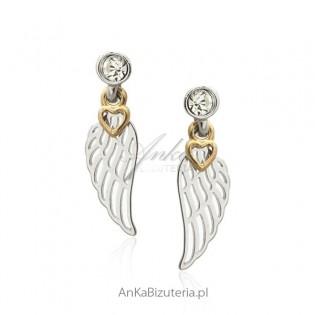 Kolczyki srebrne skrzydełka rodowane i pozłacane
