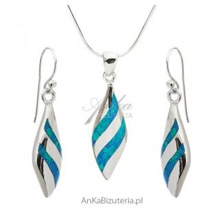 Komplet biżuteria srebrna z niebieskim opalem Elegancka biżuteria damska