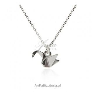 Naszyjnik srebrny z żurawiem 3D