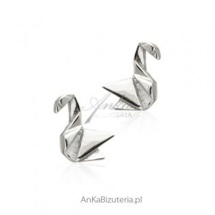 Kolczyki srebrne 3D żurawie