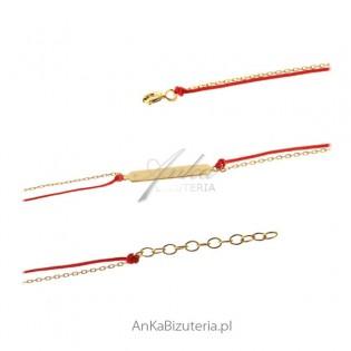 Bransoletka srebrna pozłacana na czerwonym sznureczku Jubiler